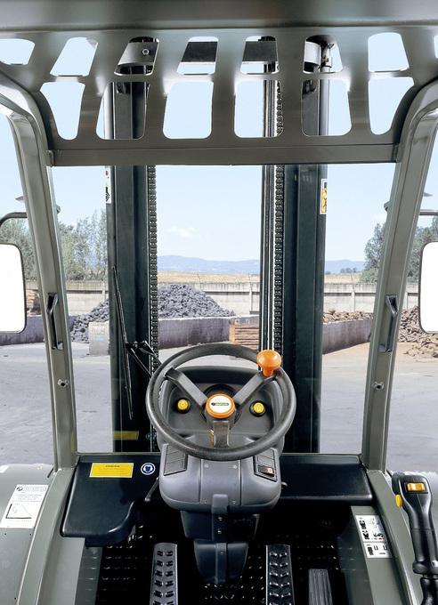 Bra ergonomi i förarmiljön för långa arbetsdagar i truckens hytt
